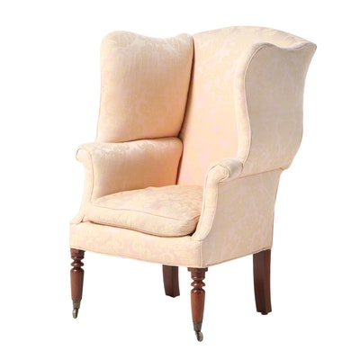 American Late Federal Mahogany Wingback Armchair, Early to Mid 19th Century