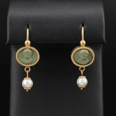 Italian 18K Lava and Pearl Cameo Drop Earrings