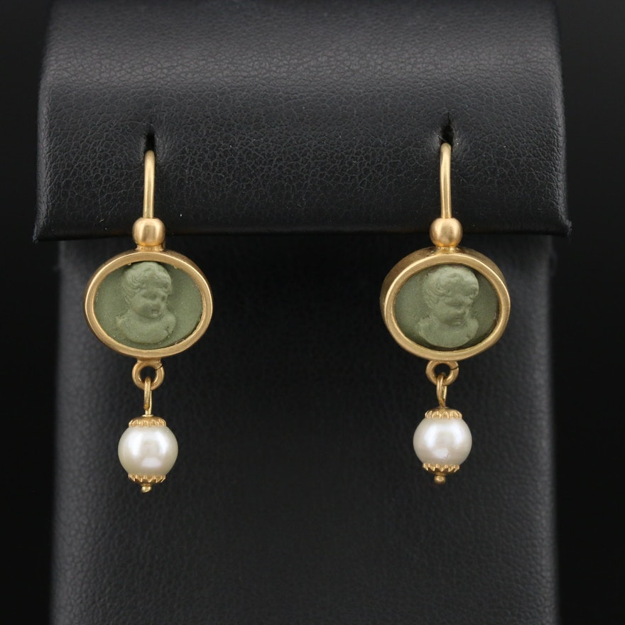 Italian 18K Lava and Pearl Cameo Drop Earrings