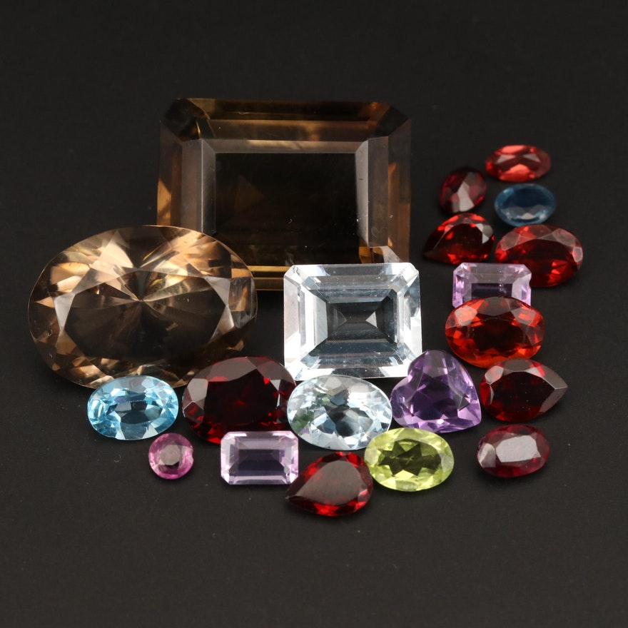Loose 48.20 CTW Amethyst, Garnet, Smoky Quartz and Additional Gemstones