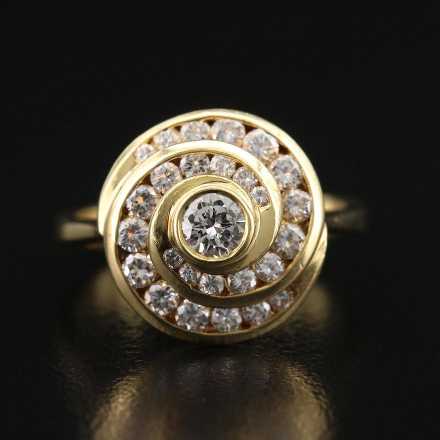 18K Diamond Spiral Ring