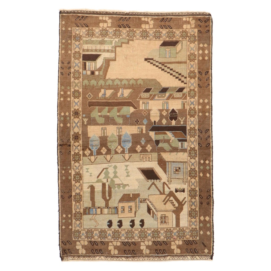 3'9 x 6'1 Hand-Knotted Afghan Pictorial War Rug