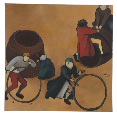 Figural Folk Art Oil Painting, 21st Century