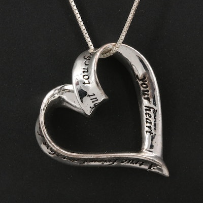 Sterling Friendship Heart Pendant Necklace