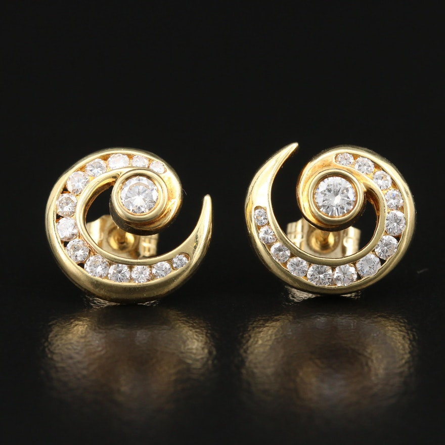 18K 1.00 CTW Diamond Spiral Earrings