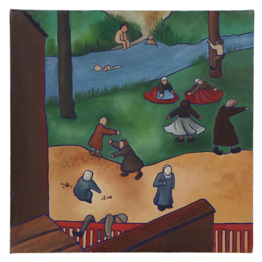Figural Folk Art Oil Painting, 21st Century