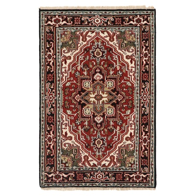 3'11 x 6'2 Hand-Knotted Indo-Persian Heriz Area Rug