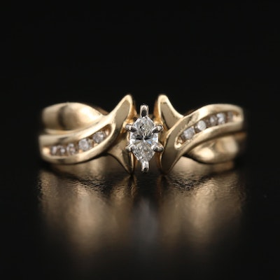 14K Diamond Ring with Twist Detail