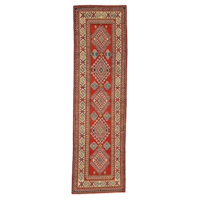 2'8 x 9'4 Hand-Knotted Afghan Kazak Wool Carpet Runner