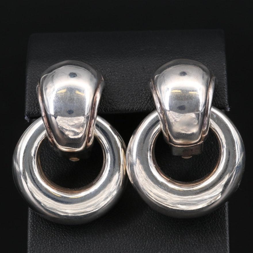 Sterling Silver Puff Door Knocker Earrings