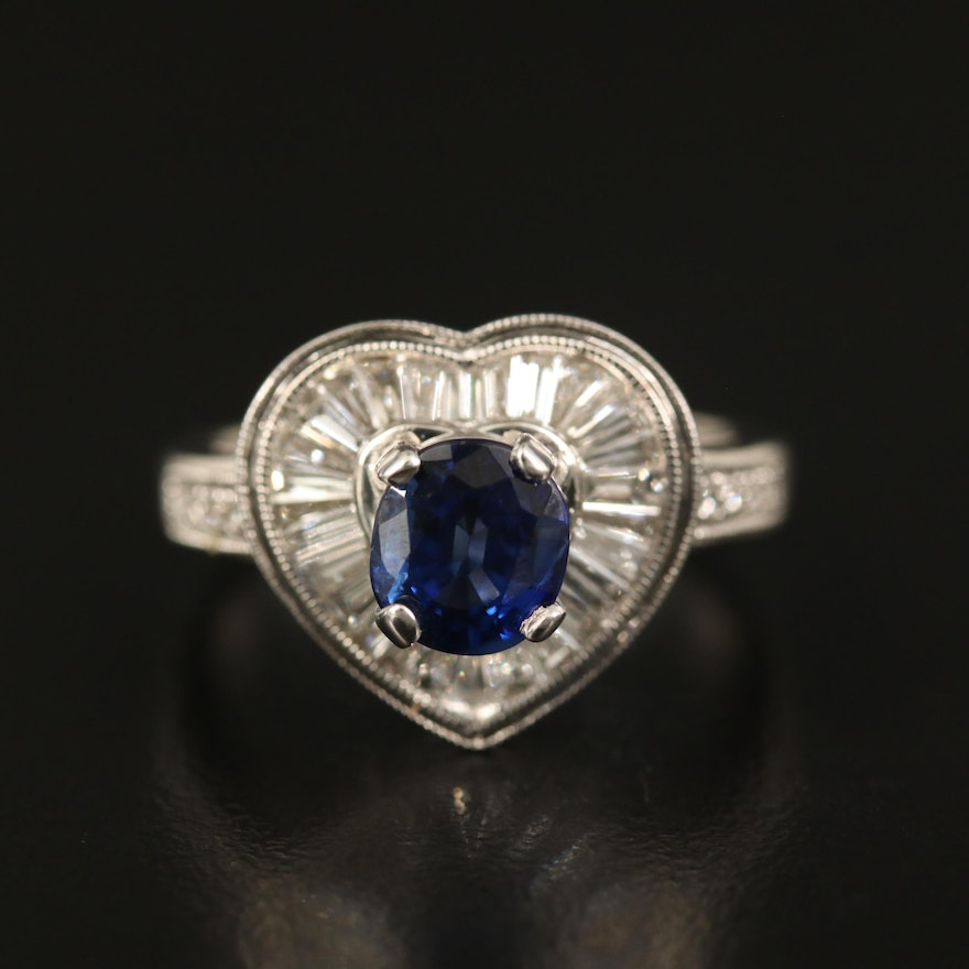14K Sapphire and Diamond Heart Ring with GIA Report