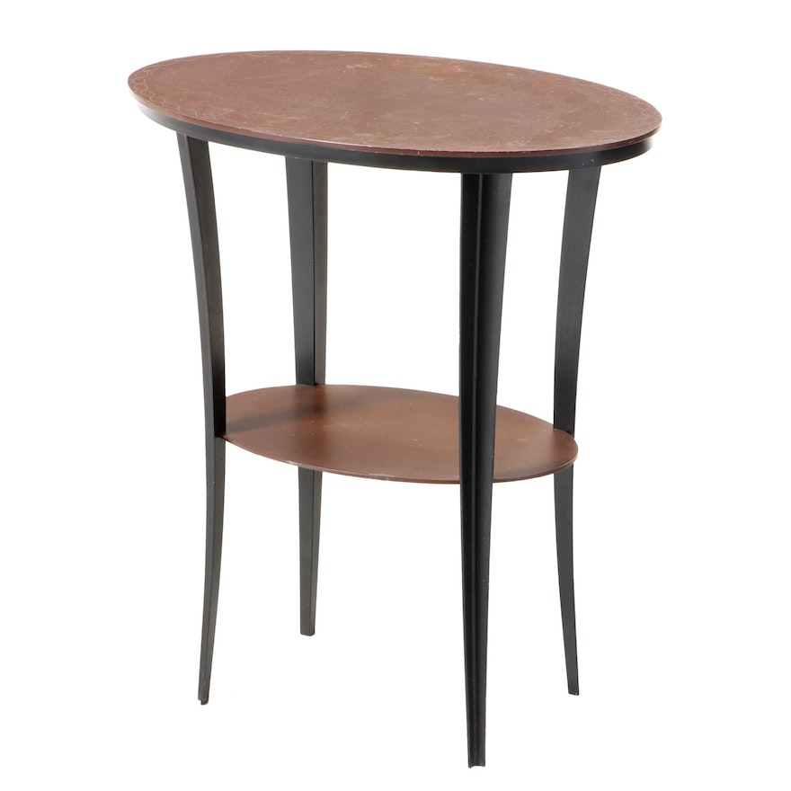 Modern Patinated Steel Oval Tiered Side Table with Incised Border