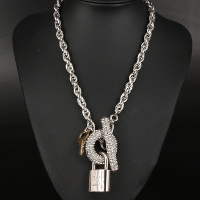 Louis Vuitton Lock and Key on Pavé Accented Necklace