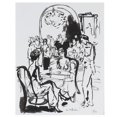 Murat Kaboulov Figurative Giclée of Restaurant Scene, circa 2000