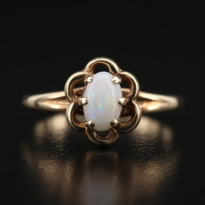 10K Scalloped Frame Opal Ring