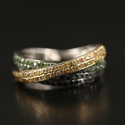 18K 1.00 CTW Diamond Crossover Ring