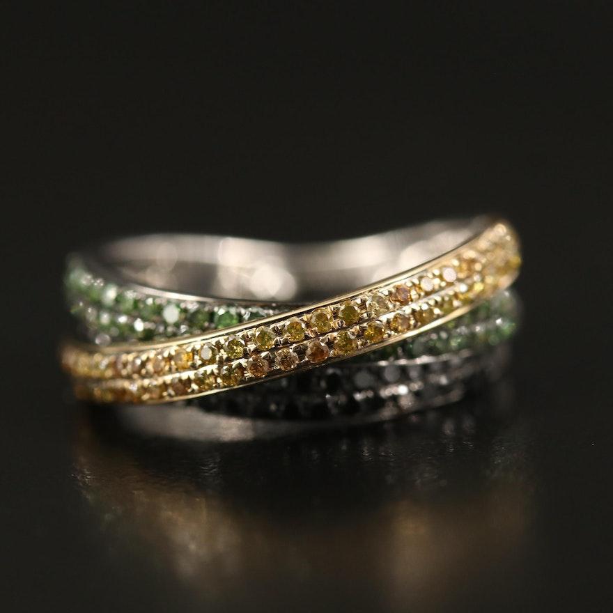 18K 1.00 CTW Diamond Crossover Ring