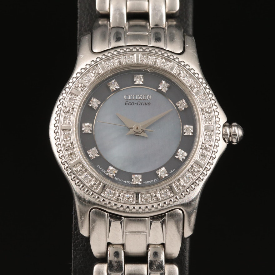 Citizen Eco-Drive Black Mother of Pearl and Diamond Dial Wristwatch