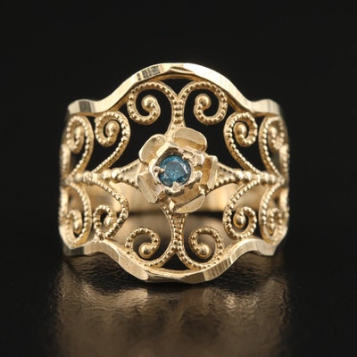10K Diamond Floral Openwork Ring