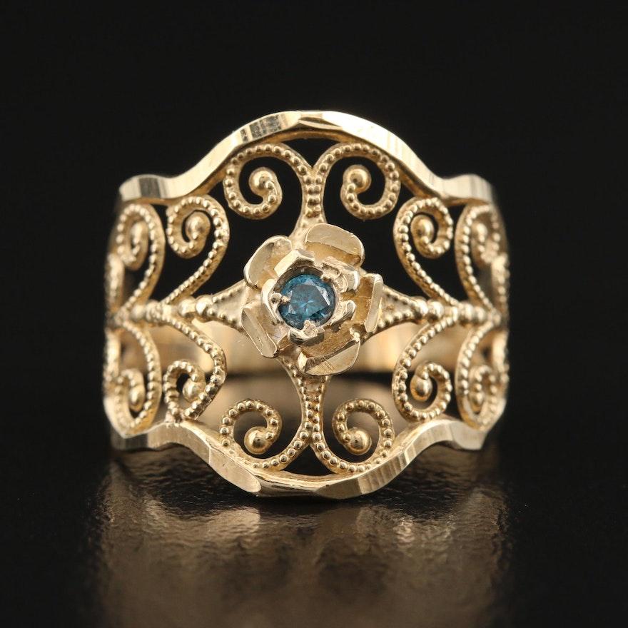10K Diamond Floral Openwork Ring