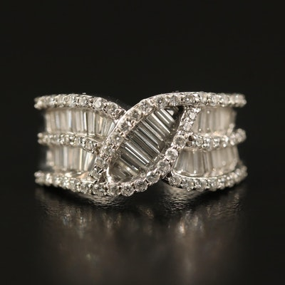 14K 1.70 CTW Diamond Crisscross Ring