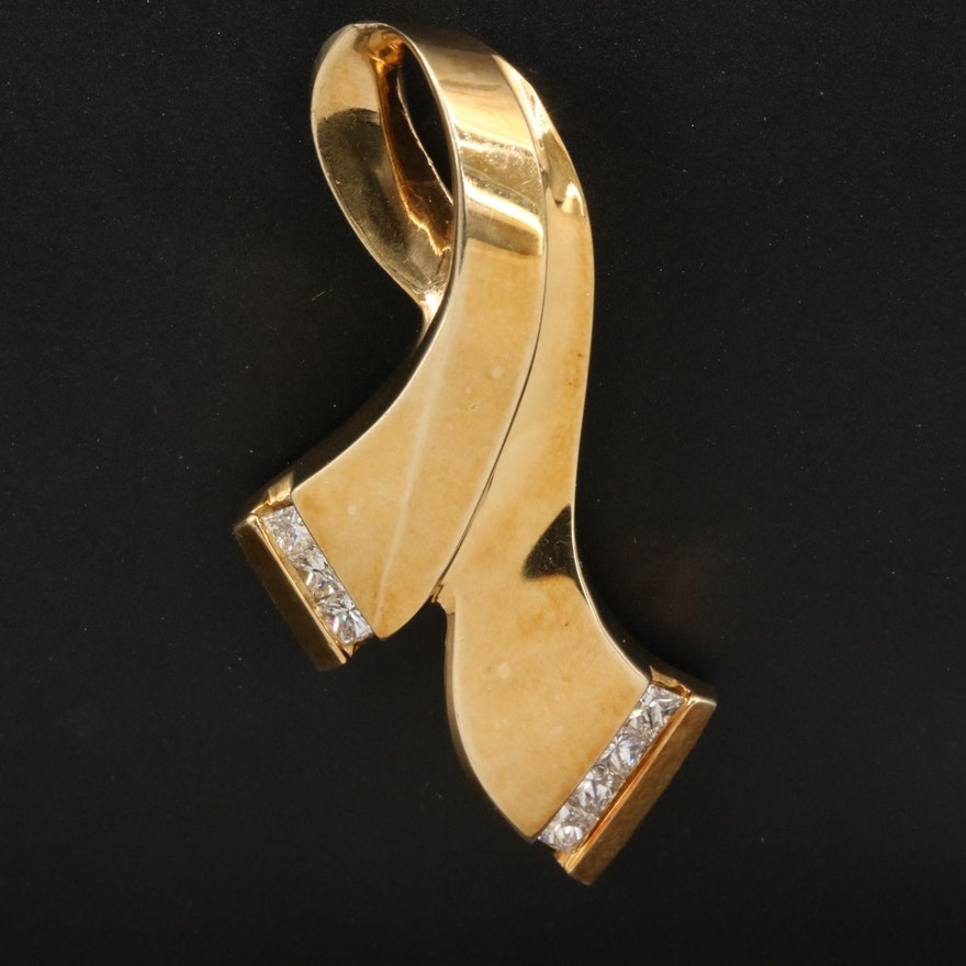 14K Diamond Ribbon Pendant