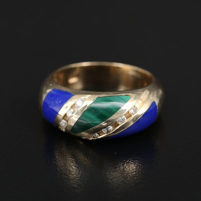 14K Diamond, Malachite and Imitation Lapis Lazuli Band