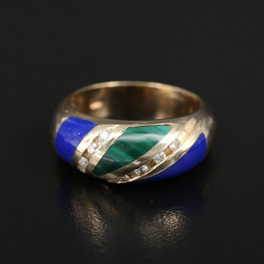14K Diamond, Malachite and Imitation Lapis Lazuli Band