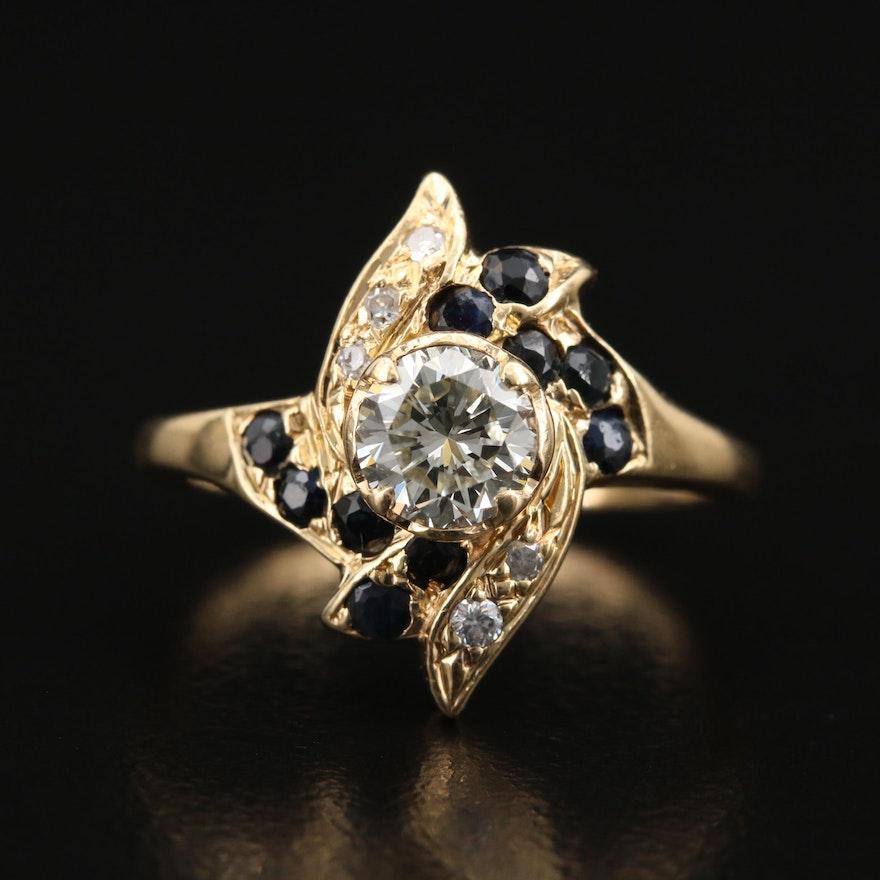 14K Diamond and Sapphire Pinwheel Ring