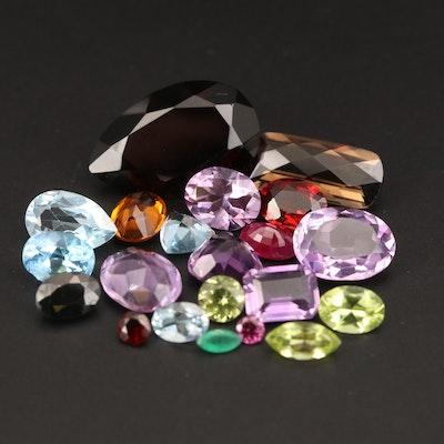 Loose 37.70 CTW Amethyst, Topaz, Smoky Quartz and Additional Gemstones
