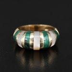 14K Malachite and Mother of Pearl Inlay Dome Ring
