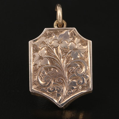 Antique Locket with Engraved Foliated Pattern