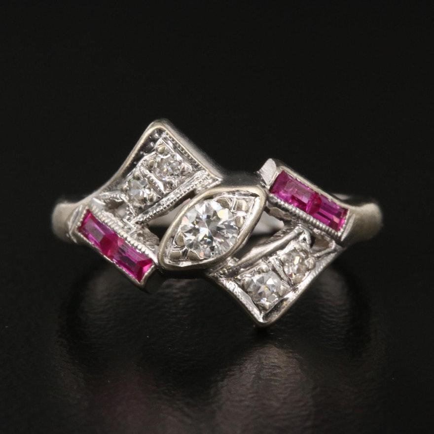 Vintage 14K Diamond and Ruby