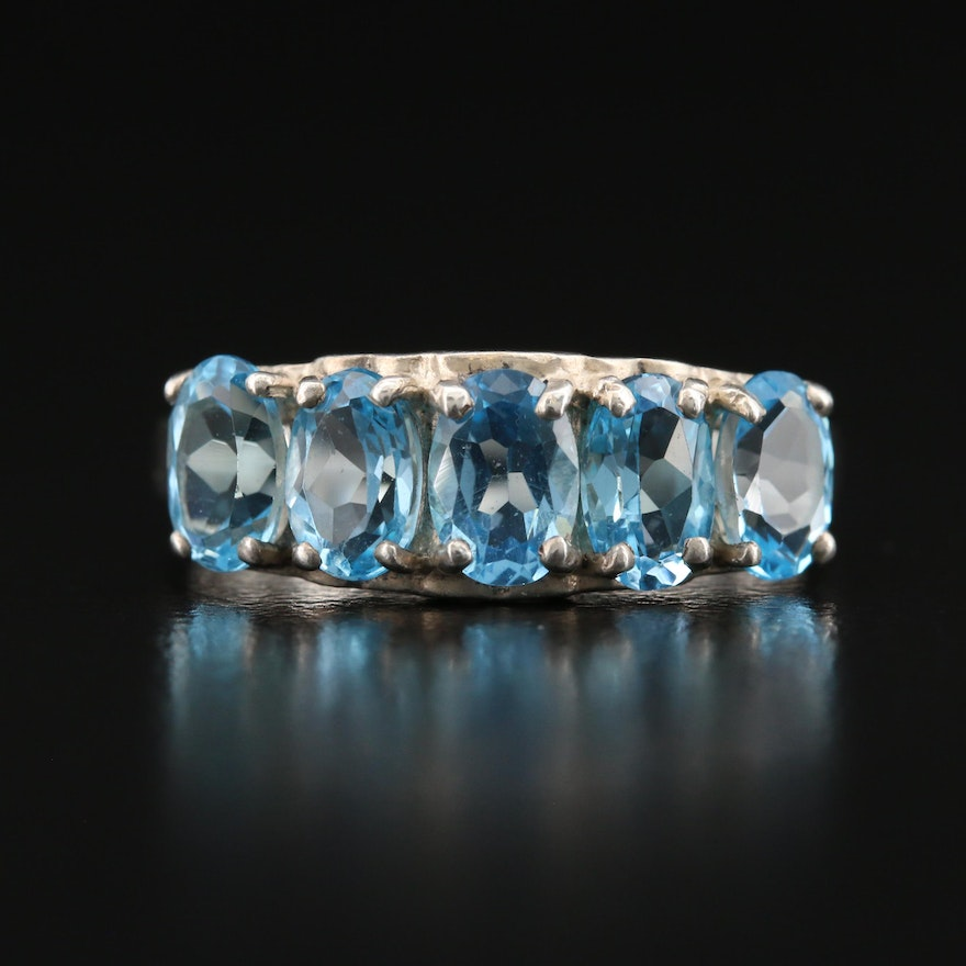 Sterling Topaz Ring with Heart Motif