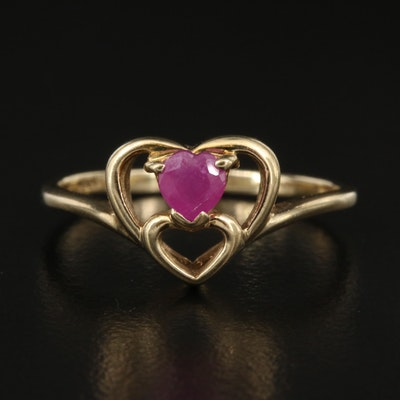 10K Ruby Heart Ring