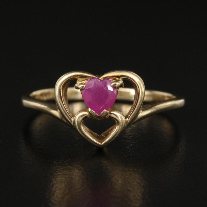 10K Ruby Heart Ring