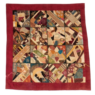 Handmade Pieced and Embroidered Crazy Quilt, Circa 1893