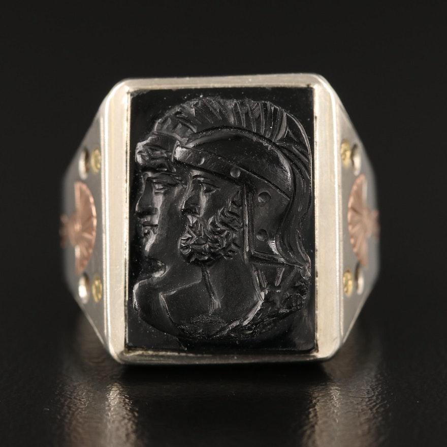 Vintage 10K Black Onyx Capita Jugata Cameo Ring