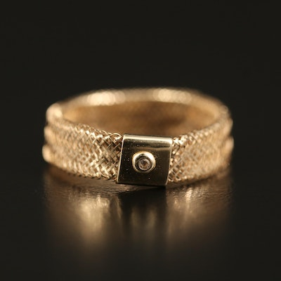 14K Mesh Ring with Cubic Zirconia Accent