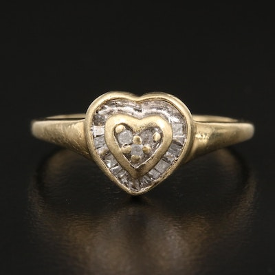 10K Diamond Heart Ring