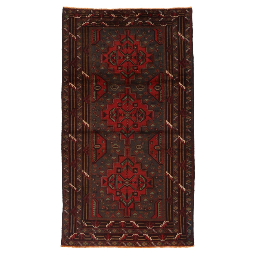 3'9 x 6'9 Hand-Knotted Afghan Baluch Area Rug