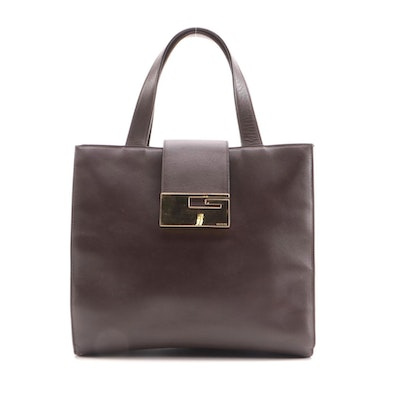 Gucci G Closure Handbag in Dark Brown Smooth Leather