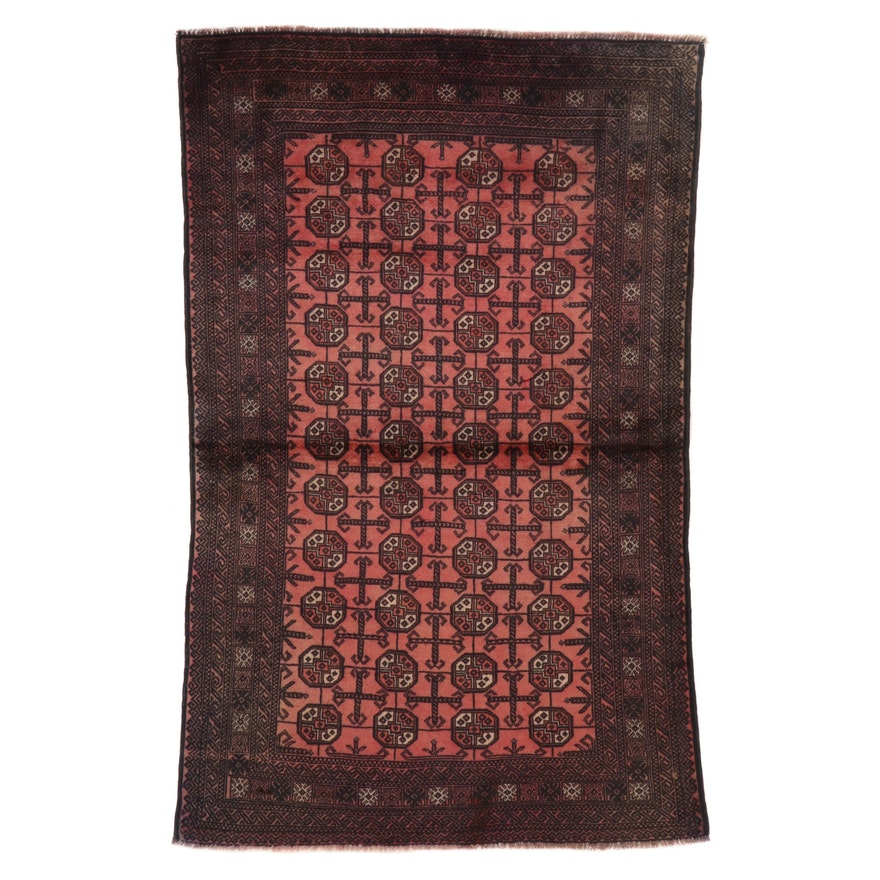 4' x 6'2 Hand-Knotted Afghan Turkmen Bokhara Area Rug