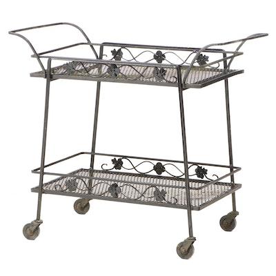 Black Metal Mesh Patio Bar Cart