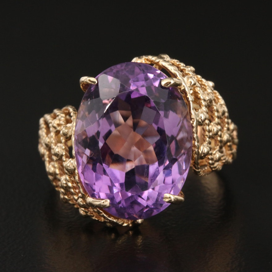 10K 9.38 CT Amethyst Ring with Openwork Pattern