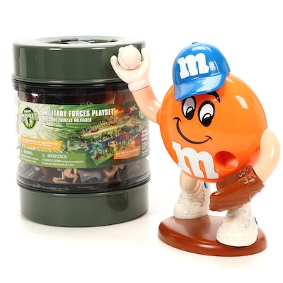 "True Heroes ""Military Forces Playset"" and Mars Baseball M&M Candy Dispenser"