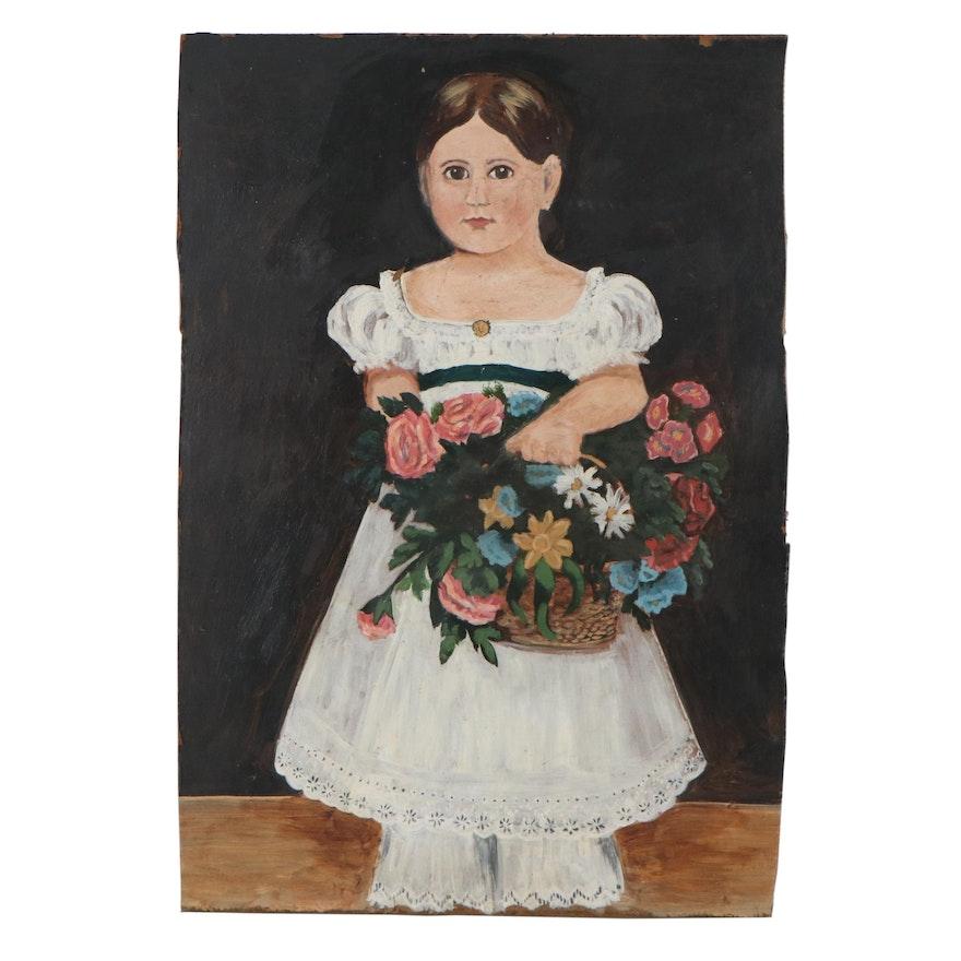 Double-Sided Folk Art Acrylic Painting, 20th Century