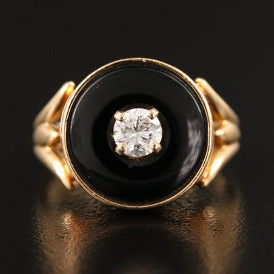 Vintage 14K Diamond and Black Onyx Ring