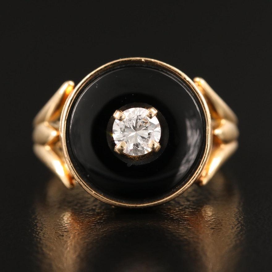 Vintage 14K Diamond and Black Onyx Ring