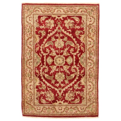 4'1 x 6' Hand-Knotted Afghan Oushak Style Wool Area Rug